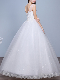 White Bateau Ball Gown Appliques Embroidery Dress for Wedding