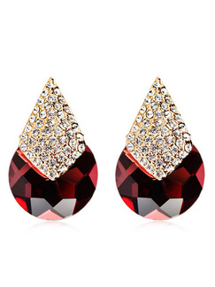 Gold Plated Stud Drop Garnet Crystal and Rhinestone Earring