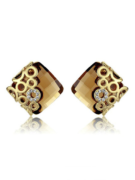 Gold Plated Stud Crystal and Rhinestone Earring