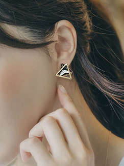 Gold Plated Stud Triangle Crystal and Rhinestone Earring