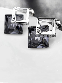 Silver Plated Square Stud Crystal Earring