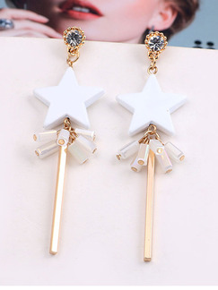 Gold Plated Star Dangle Rhinestone Earring