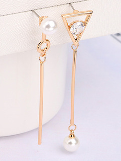 Gold Plated Bead Dangle Pearl and Rhinestone  Earring