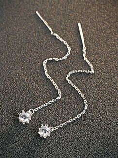 925 Silver Dangle Rhinestone Earring