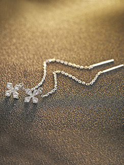 925 Silver Cross Dangle Rhinestone Earring