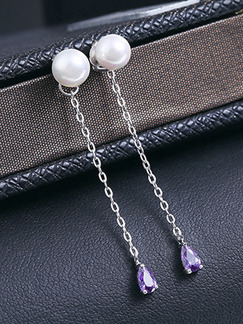 925 Silver Bead Dangle Pearl and Amethyst Earring