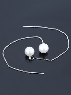 925 Silver Bead Dangle Pearl Earring
