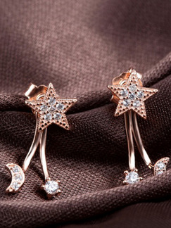 925 Silver and Gold Plated Star Stud Rhinestone Earring