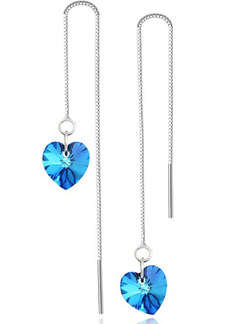 925 Silver  Heart Dangle Spphire Crystal Earring
