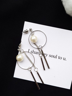 Gold Plated  Bead Dangle Hoop Pearl Earring