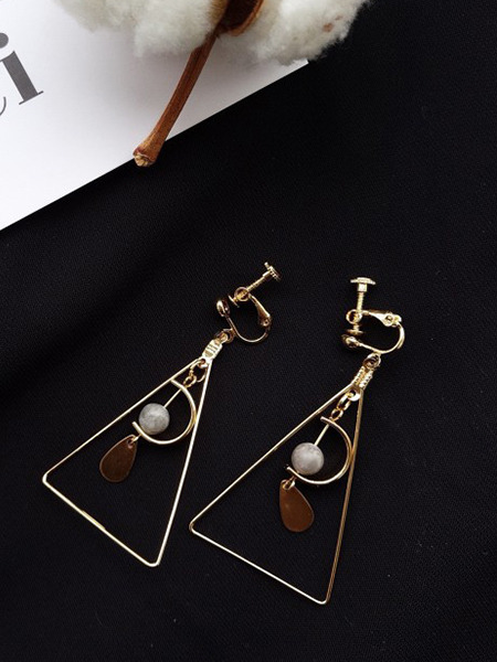 Gold Plated  Bead Dangle Gemstone Earring