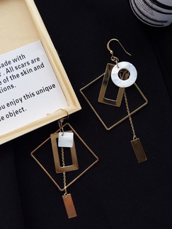 Gold Plated  Square Dangle Hook Gemstone Earring