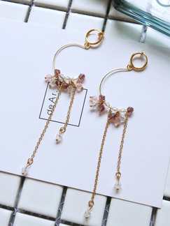 Gold Plated  Hoop Dangle Crystal Earring