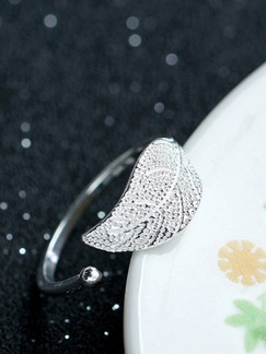 925 Silver Leaf Open  Ring