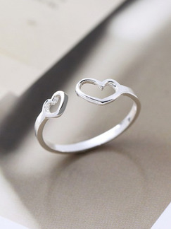 925 Silver Heart Open  Ring
