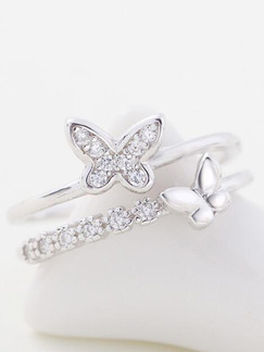 925 Silver Butterfly Open Rhinestone Ring