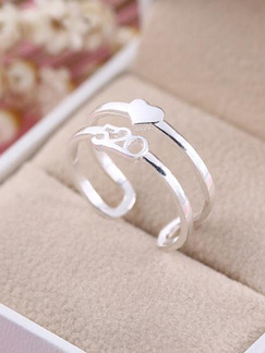925 Silver Heart Number Open  Ring