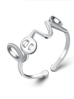 925 Silver Love Alphabet Open  Ring
