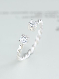 925 Silver Open Rhinestone Ring