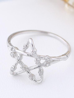 925 Silver Star Rhinestone Ring