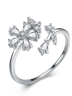 925 Silver Flower Open Rhinestone Ring