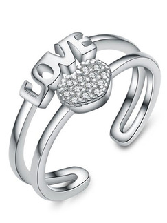 925 Silver Love Alphabet Heart Open Rhinestone Ring