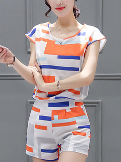 White and Orange Two Piece Shirt Shorts Plus Size Jumpsuit for Casual Evening Office