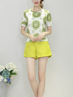 White and Green Two Piece Shirt Shorts Plus Size Wide Leg Jumpsuit for Casual Evening Office