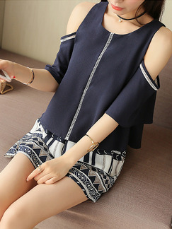 Blue and White Two Piece Shirt Shorts Plus Size Wide Leg Jumpsuit for Casual Evening Party