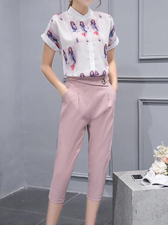 White and Pink Two Piece Shirt Pants Plus Size Jumpsuit for Casual Office Evening
