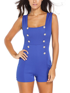 Blue One Piece Shorts Jumpsuit for Casual Party