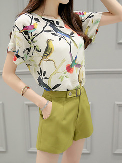 White and Green Two Piece Shirt Shorts Plus Size Wide Leg Jumpsuit for Casual Office Evening