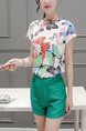 White and Green Two Piece Shirt Shorts Plus Size Jumpsuit for Casual Office Evening