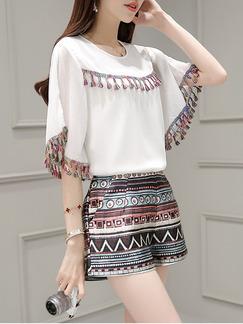 White Colorful Two Piece Shirt Shorts Plus Size Wide Leg Jumpsuit