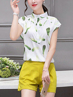 White and Yellow Two Piece Shirt Shorts Plus Size Jumpsuit for Casual Office Evening