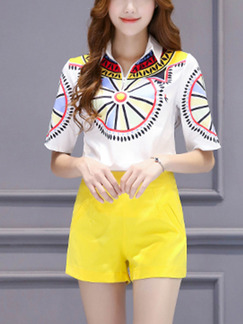 White and Yellow Two Piece Shirt Shorts Plus Size Wide Leg Jumpsuit for Casual Office Evening