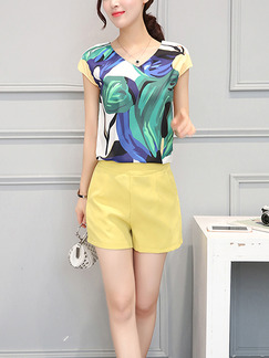 Blue Green and Yellow Two Piece Shirt Shorts Plus Size Wide Leg V Neck Jumpsuit for Casual Evening Party
