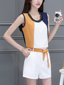 6e1f3023d621 White Blue and Brown Two Piece Shirt Shorts Wide Leg Plus Size Jumpsuit for  Casual Evening