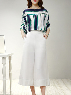 Green Blue and White Two Piece Shirt Pants Wide Leg Plus Size Jumpsuit for Casual Evening Party