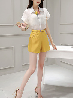 White and Yellow Two Piece Shirt Shorts Plus Size Wide Leg Jumpsuit for Casual Evening Office