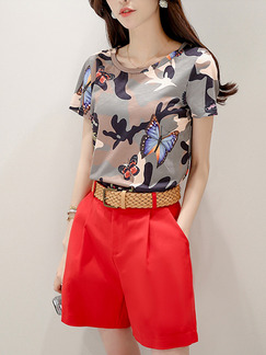 Red and Grey Two Piece Shirt Shorts Plus Size Wide Leg Jumpsuit for Casual Evening Party