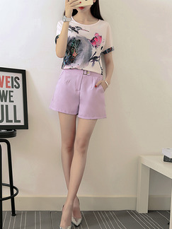 Pink and White Two Piece Shirt Shorts Plus Size Wide Leg Jumpsuit for Casual Office Evening