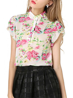 White and Pink Blouse Cute Floral Plus Size Top for Casual Evening Party