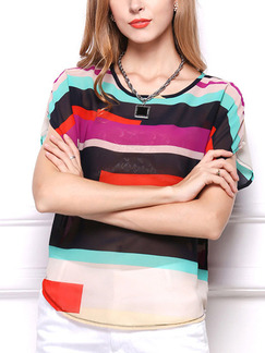 Colorful T-Shirt Plus Size Top for Casual Party