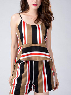 Brown Colorful Two Piece Slip Shorts Wide Leg Jumpsuit for Casual Evening Party