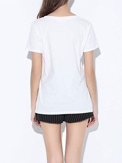 White and Black T-Shirt Plus Size Top for Casual