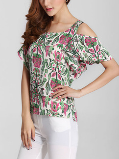 Pink Green and White Blouse Plus Size Top for Casual Party Evening
