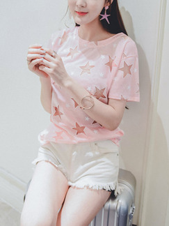 Pink T-Shirt Cute Top for Casual Party