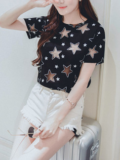 Black T-Shirt Top for Casual Party