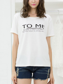White T-Shirt Top for Casual